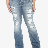 Silver Jeans - Light Destruction With Lace Tuesday Boot Jeans | Torrid
