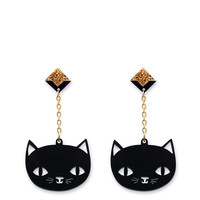 'Catnap' Black Cat Dangly Earrings | Little Moose | Quirky jewellery and playful accessories that raise a smile and stand out from the crowd