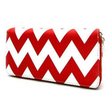 Wallet-Faux Leather Red Chevron Wallet
