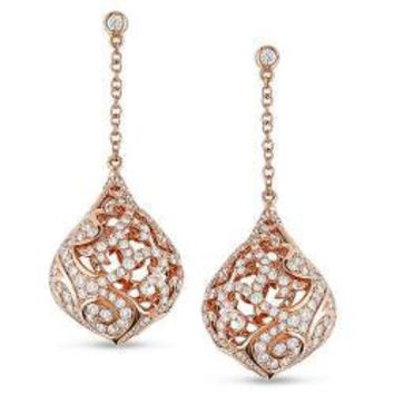 18k Pink Gold 1 3/4ct TDW Diamond Teardrop Earrings (G-H, SI1-SI2) | Overstock.com