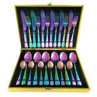 Rainbow Reflections Stainless 24-PC Service For 6 Flatware Party Gift SET