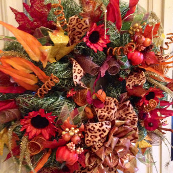 Fall Floral Mesh Wreath, Fall Wreath, Fall DecoMesh Wreath, Thanksgiving Wreath, Fall Decor, Holiday Wreath, Door Wreath, Floral Wreath