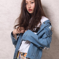 Light Blue Letter Patch Ripped Pockets Denim Coat