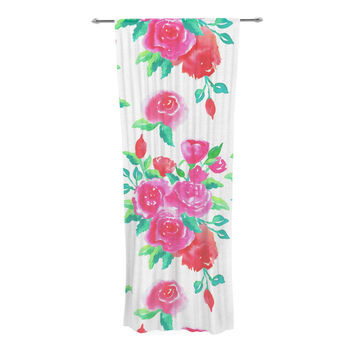 "Anneline Sophia ""Pink Roses"" Magenta Floral Decorative Sheer Curtain"
