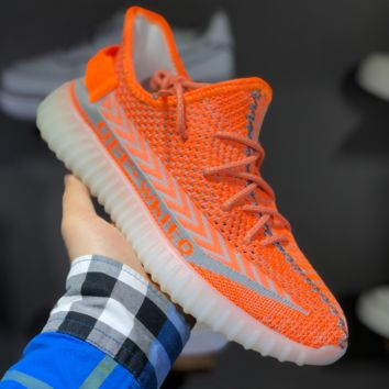 hcxx A1475 Off-White x adidas Yeezy Boost 350V2 Knit Slip-on Breathable Running Shoes Orange