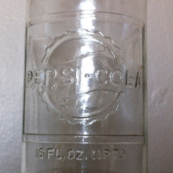 1960s Antique Pepsi Cola glass bottle, 16oz, vintage glass, pepsi memorabilia