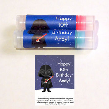 20 Star Wars Lip balm Birthday Favors -  Darth Vader birthday, bridal shower, star wars baby shower, geek birthday, Darth Vader baby,A120