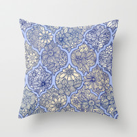 Moroccan Floral Lattice Arrangement - Purple Throw Pillow by micklyn | Society6