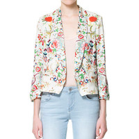 SHORT PRINTED BLAZER - Blazers - Woman - ZARA United States