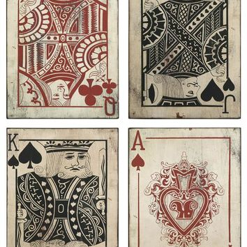 Leonato Playing Card Wall Decor - Set of 4 - Wall Sculptures - Wall Decor - Home Decor | HomeDecorators.com