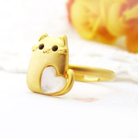 Squirrel Ring Women's Teen's Animal Ring Mother of Pearl Heart Gold Jewelry Wrap Ring Size Free Adjustable gift idea