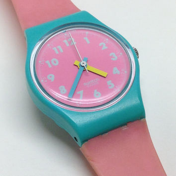 Vintage Ladies Swatch Watch Pink Champagne LL105 1989