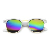 Retro Horned Rim Half Frame Flash Mirror Lens Sunglasses 9309