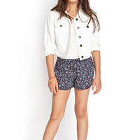 FOREVER 21 GIRLS Ruffled Floral Dolphin Shorts (Kids) Navy/Multi