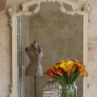 Antique Gorgeous Mirror in Cream and Gold with Garlands - $795 - The Bella Cottage