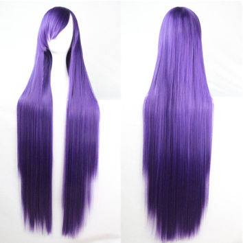 Charming 100CM Long Glossy Straight Side Bang Harajuku Anime Synthetic Cosplay Wig For Women