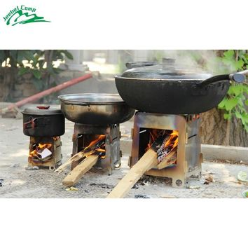 Jeebel Foldable Outdoor Cooking Stainless Steel Wood Stove BBQ