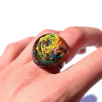 Colorful Psychedelic Ring Bright Colors Jewelry Rainbow Ring Holographic Glitter Resin Ring