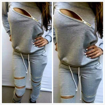 2017 Woman's Tracksuits Sweatshirt+Pants 2 Pieces Set Women Clothing Gray Sports Suit Zipper Tracksuits Sports Costumes J4133