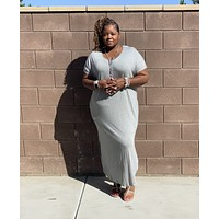 Plus Size Side Slit Maxi Dress With Pockets