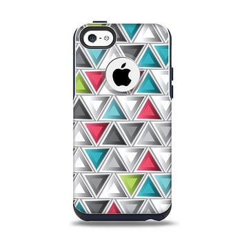 The Vibrant Colored Triangled 3d Shapes Apple iPhone 5c Otterbox Commuter Case Skin Set