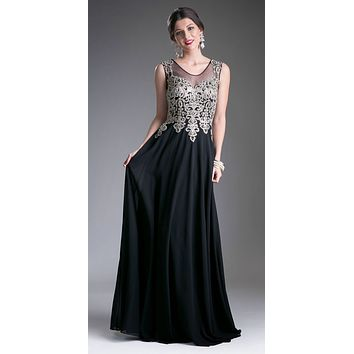 Cinderella Divine 2635 - Jewel Embellished Sheer Back Chiffon Prom Dress Black