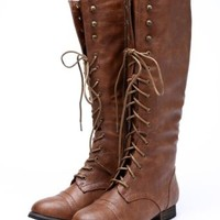 Outlaw 13 Women Military Lace Up Knee High Combat Boot Tan