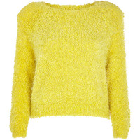 River Island Womens Yellow fluffy knit cropped sweater