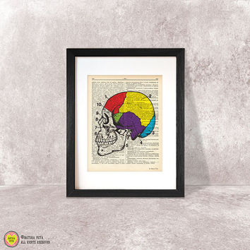 Brain print-brain dictionary print-Anatomy print-brain on book page-anatomical wall art-brain poster-anatomy print set-by NATURA PICTA-DP072