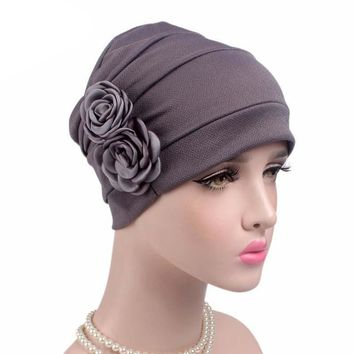 Women Solid Bandanas Headwear Ladies Hijab Turban Hat Female Cancer Chemo Hair Loss Cap Head Scarf Wrap Cover Beanie C255