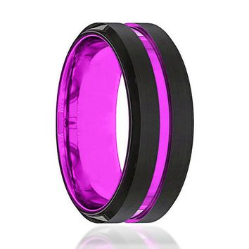 Mens Passionate Purple Groove Black Tungsten Carbide Wedding Ring Beveled Edges - 8mm