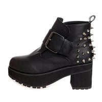 Handsome Rivet Decoration Buckled Black Chunky Heel Ankle Boots | martofchina.com-Page Cached
