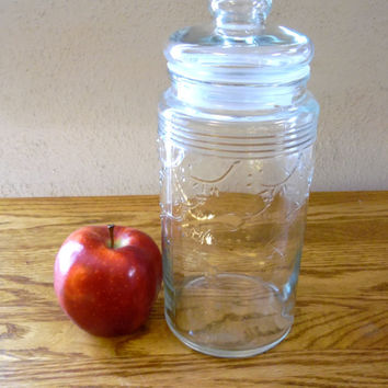 Tall Round Style Canister Clear Glass Apothecary Jar
