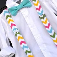 Easter Spring Chevron Bowtie & Suspender Set in Green, Aqua Blue, Pink, Yellow, and White - Baby / Toddler / Child