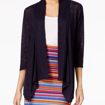 NY Collection Women Open Front Blue Draped Illusion Ribbed Cardigan Shrug Top S