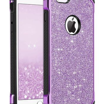 CREYRQ5 iPhone 6 Case, iPhone 6S Case, BENTOBEN Glitter Luxury 2 in 1 Ultra Slim Hard Laminated with Sparkly Shiny Faux Leather Chrome Shockproof Protective Case for iPhone 6/iPhone 6S (4.7 inch), Purple