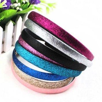 DCCKWJ7 2 pcs/pack Fashion Lady Girls Glitter Headbands Sparkling Hoop Hair Leather Plastic Hair Band Hair Band Accessories