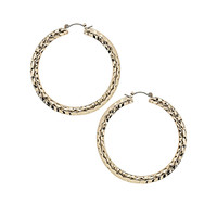 Gold Beaten Hoop Earrings - Topshop