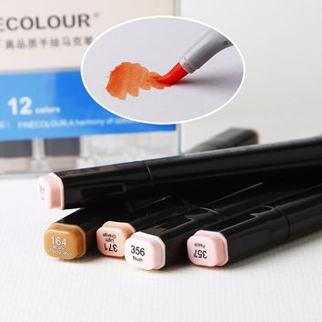 Painting Art Mark Pen Professional color of skin Alcohol Oy Marker Pen  Double Headed Art Copic Markers Designers