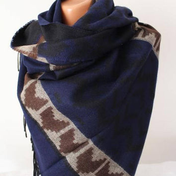 EXPRESS SHIPPING ! Navy Oversize Blanket scarf-Tribal scarf-tribal shawl-etnic scarf-aztec scarf-Aztec wool shawl-Tribal cape-Kilim scarfs