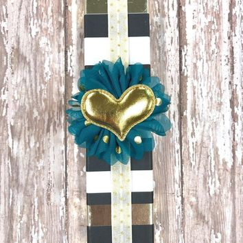 White and Metallic Gold Quatrefoil Planner Band with Puffy Gold Heart on Turquoise Flower