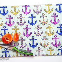 Anchor Glass Cutting Board Tempered Glass Kitchen Chopping Board Colorful Beach House Home Decor Art Design Anchors Nautical Cutlery Gift