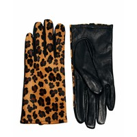 Warehouse Leather Leopard Print Gloves