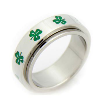 Irish Green Clover Spinner Stainless Steel Silver Ring 6-9