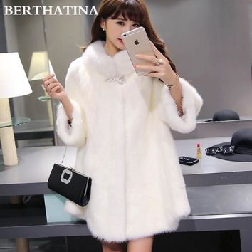 BERTHATINA 2016 hot sale Imitate Mink Fur Coat fashion fur coat women feather fur jacket women winter jackets and coats