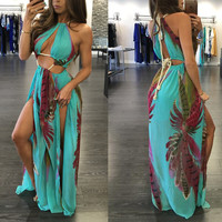 Lake Blue Leaf Print Strappy Maxi Dress