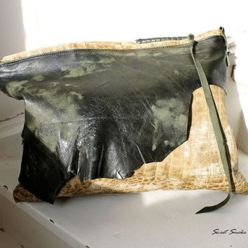 Unique leather oversized clutch lizard yellow green leather raw edges  bag bohemian spirit boho evening purse moroccan by sweet smoke bags