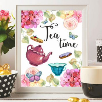 Tea Prints Printable Tea time Kitchen prints Tea quote Tea Art Watercolor Poster Tea quotes Tea pot Tea gift Wall art 8x10 Digital file SALE