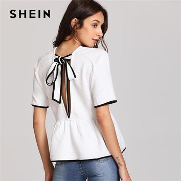 SHEIN Tied Bow Open Back Smock Tee Women White Round Neck Short Sleeve Ruffle Elegant T-shirt 2018 Summer Casual Top Tee