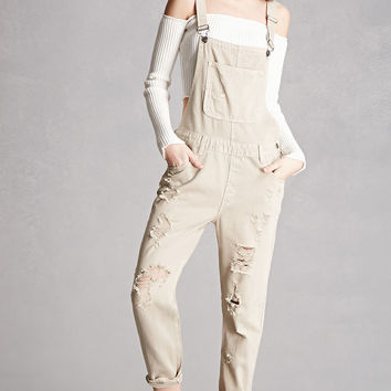 Caffeine Distressed Denim Overalls